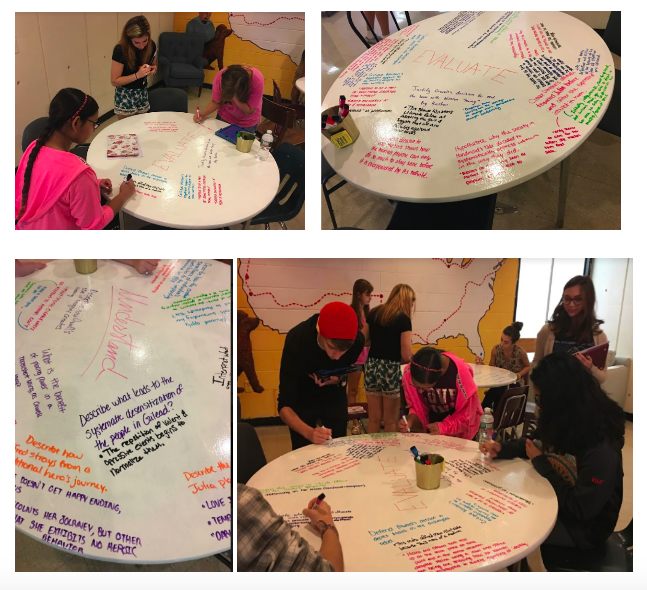 Students making use of our new whiteboard tables in the English alcove to share the questions they generated on summer reading texts: The Handmaid's Tale and 1984.