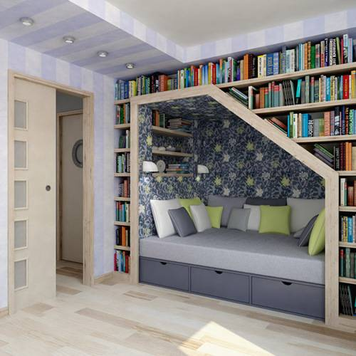 lilac daybed under book shelves