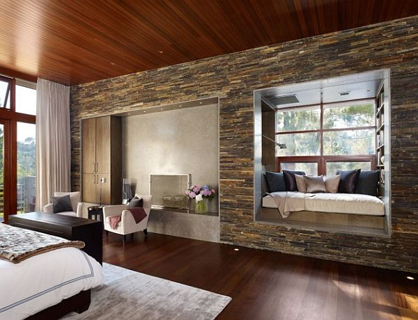 elegant wood and stone bedroom