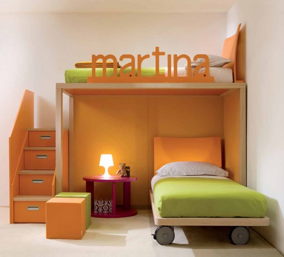 orange bedroom with a loft bed