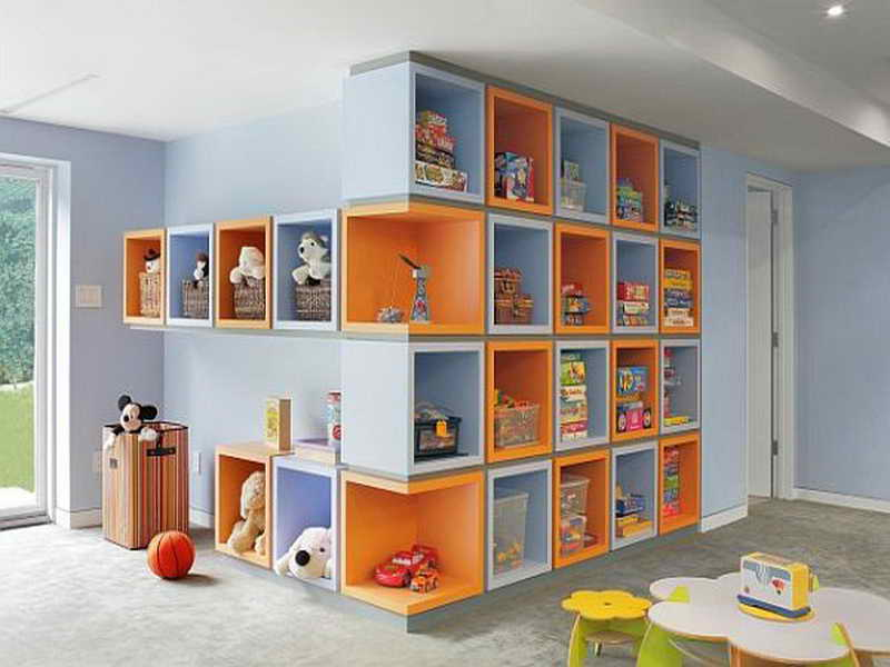 orange and blue built in cube shelves