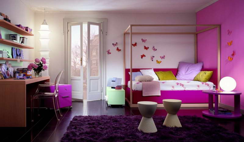 purple butterfly bedroom