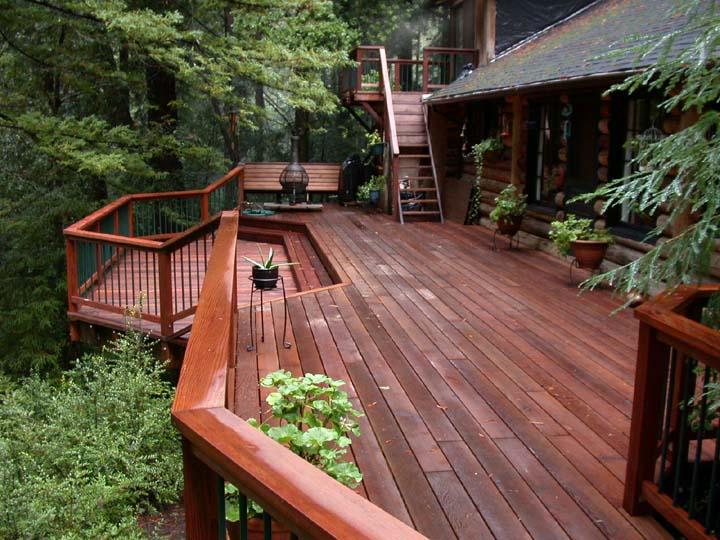 redwood rustic deck