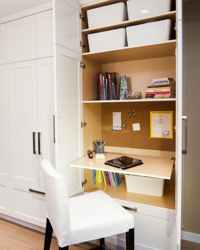 Creative ways to hide a small home office renoguide for Convert kitchen desk to pantry