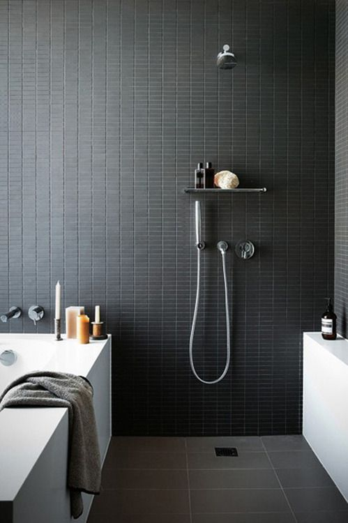 Matte Black Bathroom Floor Tiles : Contemporary bathroom tile trends renoguide
