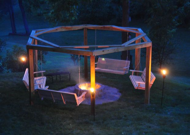 Backyard Fire Pit and swing patio