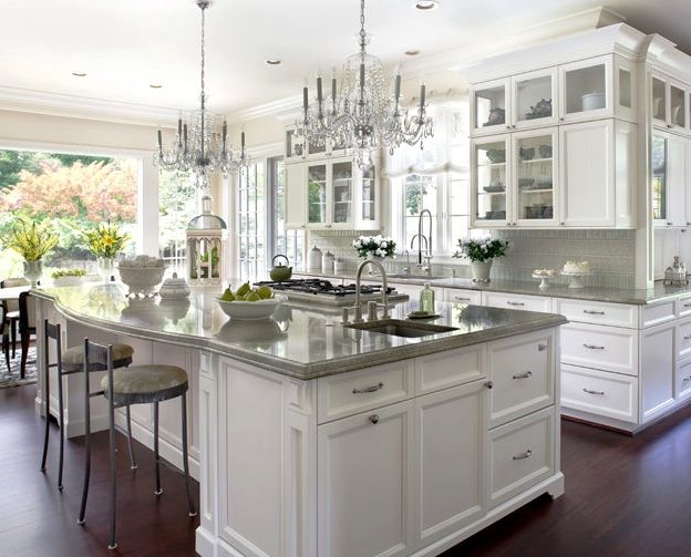classic kitchen design with chandeliers