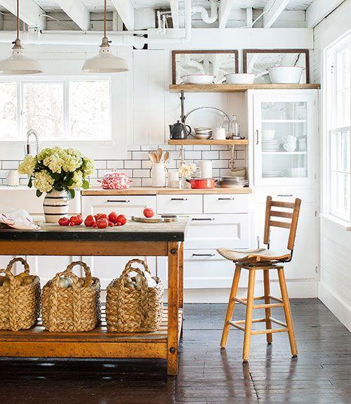 white cottage kitchen with baskets