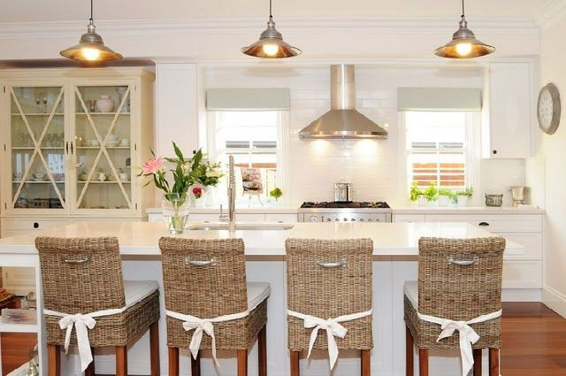 charming kitchen with wicker bar seats