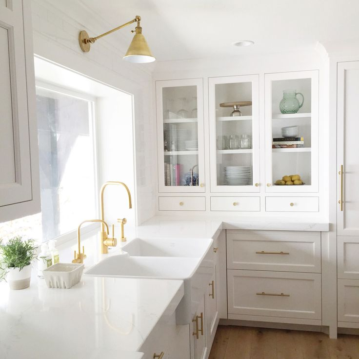 chic white and gold kitchen