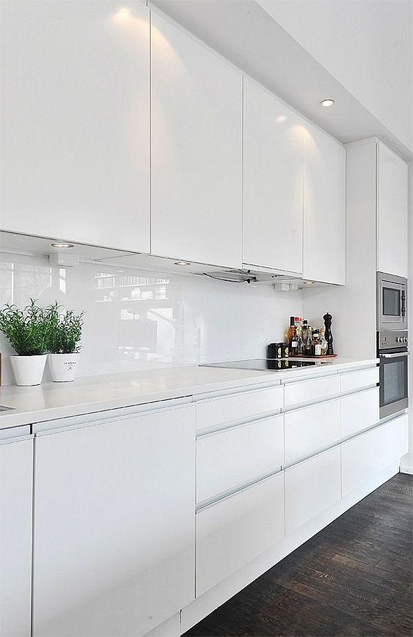 sleek and modern white kitchen
