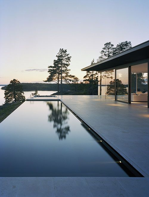 minimalist pool with infinity edge