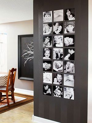 black and white wall photo gallery
