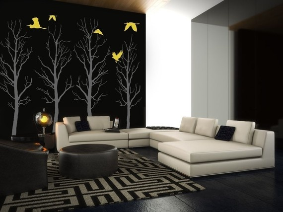 contemporary living room with wall decals