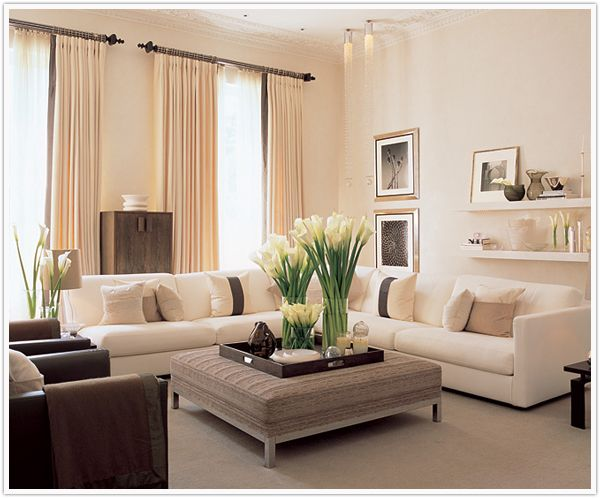 lovely living room with lilies