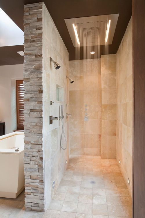 Bathroom Wall Design Ideas Part - 18: doorless bath with rain showers
