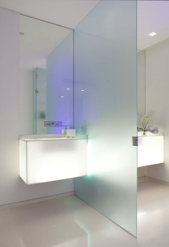 Frosted Glass Wall Bathroom Separator