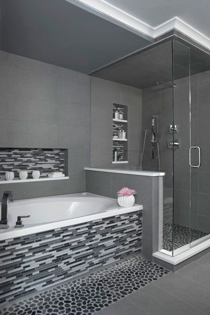 50 Modern Bathroom Ideas — RenoGuide - Australian Renovation Ideas on grey powder room ideas, blue grey and black restroom, grey black tile restroom,