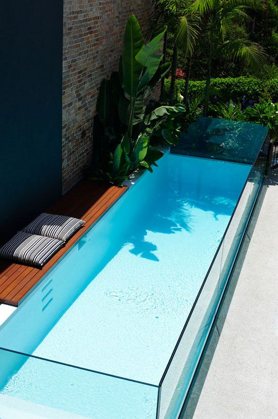 narrow glass pool
