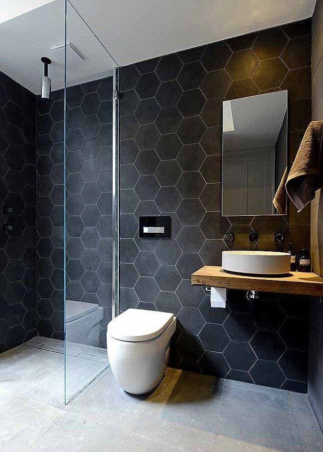 modern toilet design. Modern Black Hexagon Bathroom Tiles 50 Modern Bathroom Ideas  RenoGuide