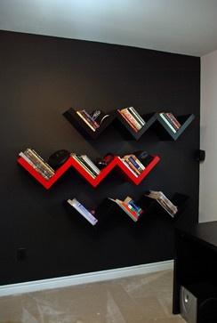 Chevron shelves on black wall