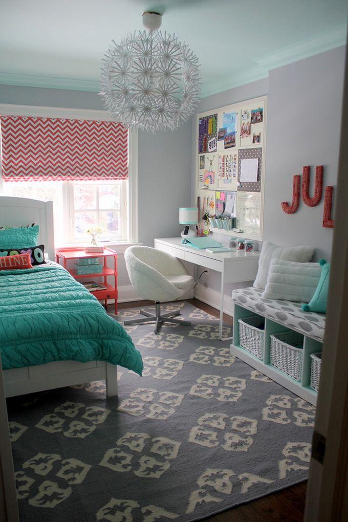 orange and green teenage bedroom