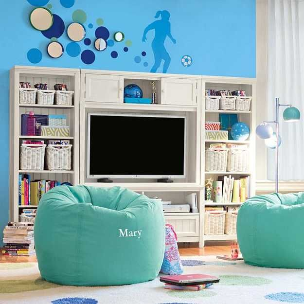 Bean Bag Seats And Entertainment Center