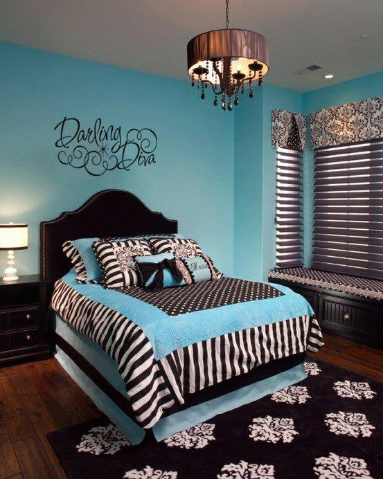 black and blue Goth girl's bedroom
