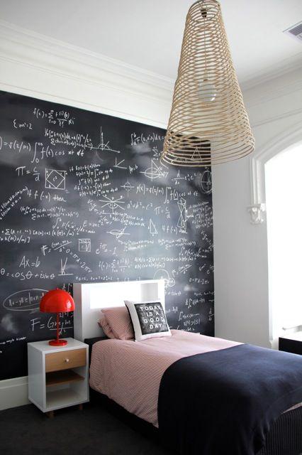 chalkboard wall in teen's bedroom