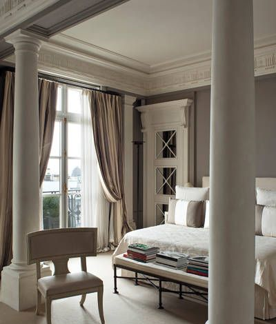 bedroom with concrete pillars