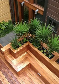 wood box seat and planters