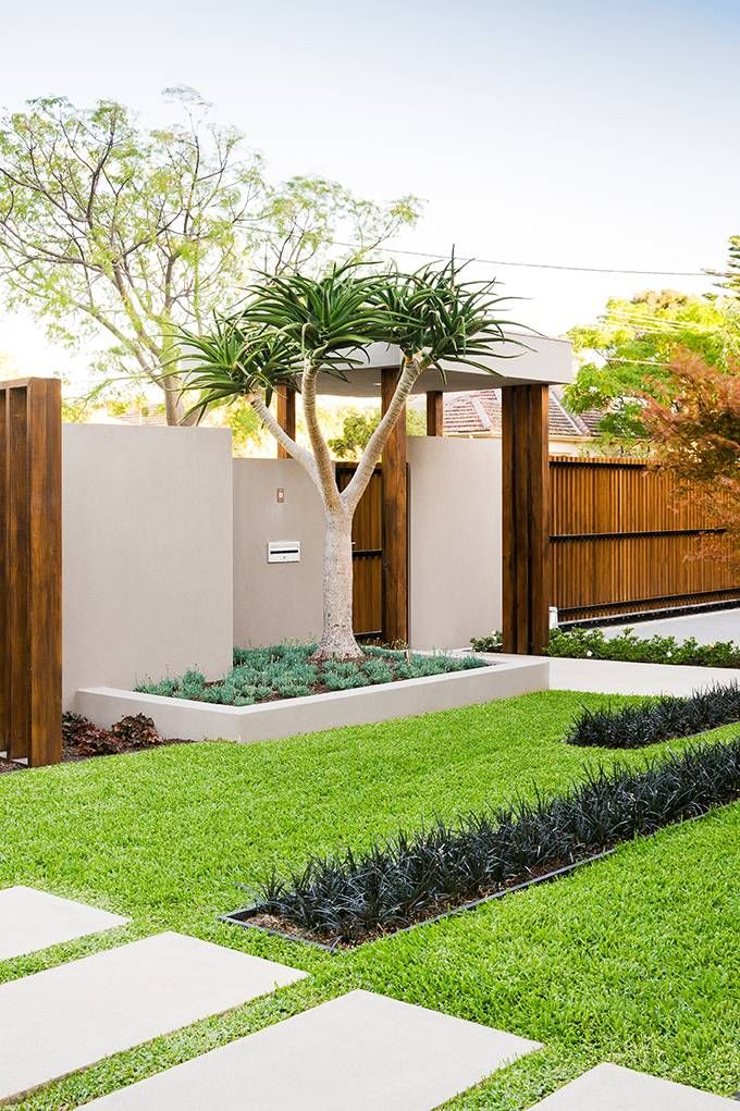 modern front lawn with wood fencing - Front Yard Design Ideas