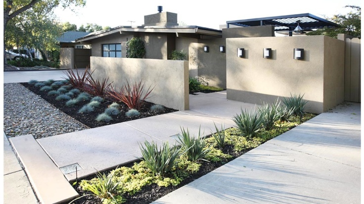 39109 No Grass Front Yard Landscape Mediterranean With Bulbine Umbrella Hole together with Tributarypools as well Mediterrane Gartengestaltung additionally Concrete Walls In Va Dc Md furthermore Entry Water Feature Modern Landscape T a. on mid century modern landscaping