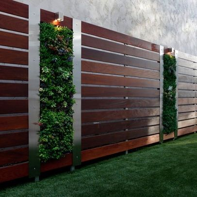 vertical succulent garden on a modern wood fence
