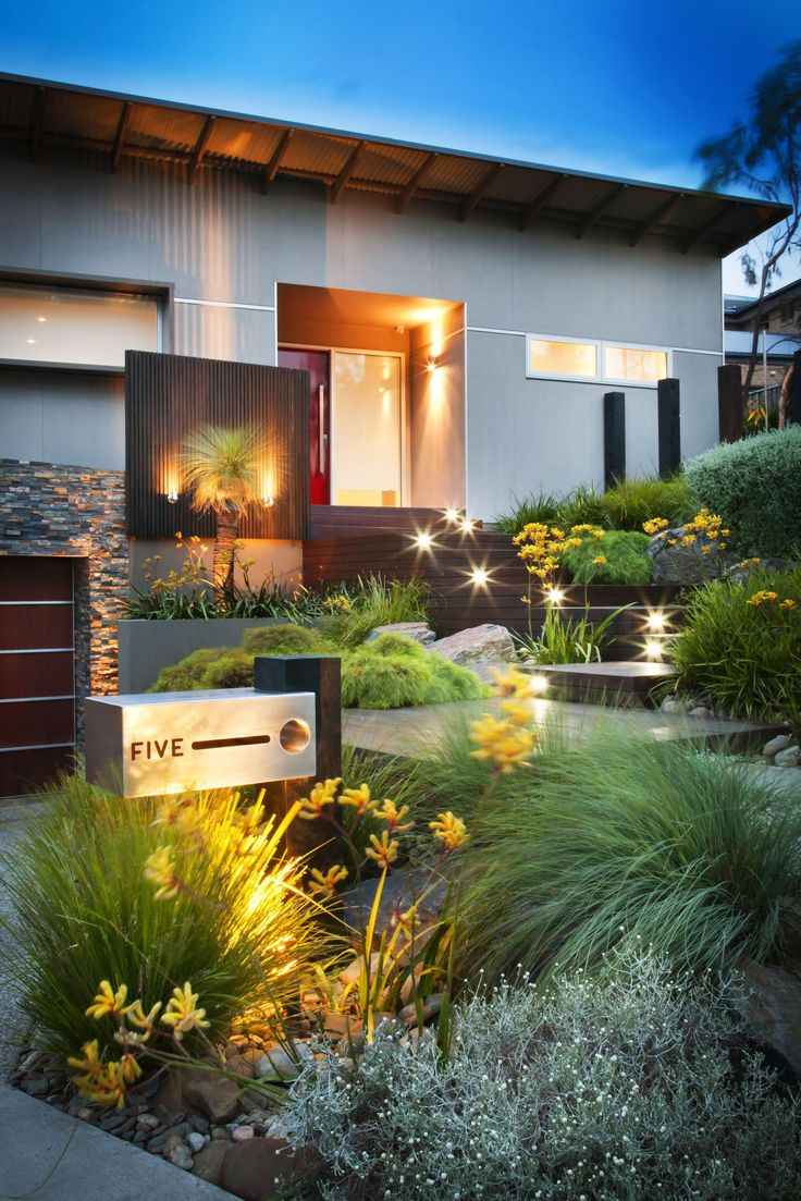 contemporary steps and lights front - Yard Design Ideas