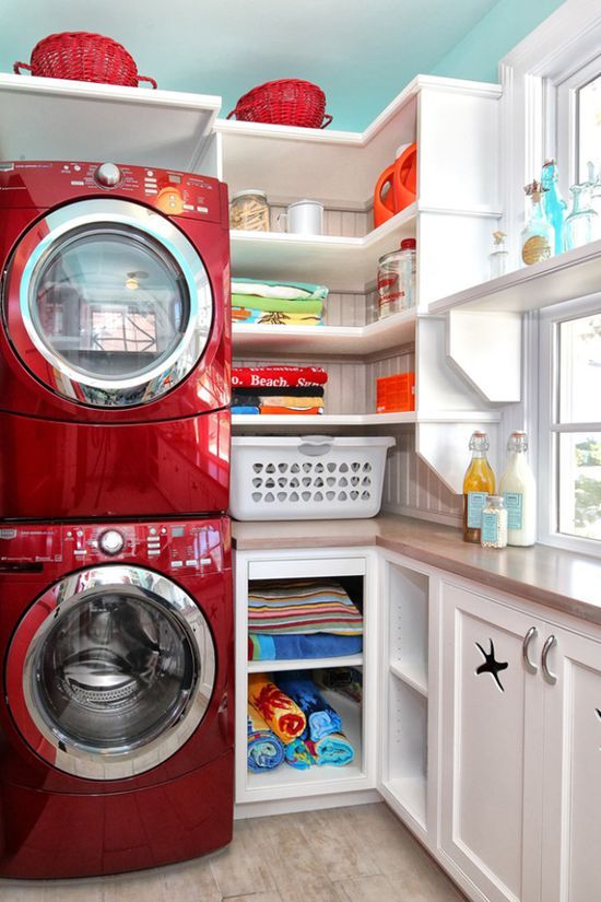 red small space laundry room