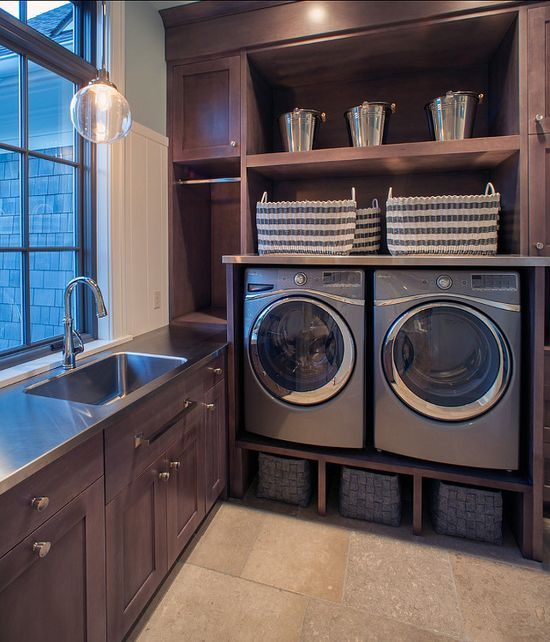 modern metallic themed laundry room