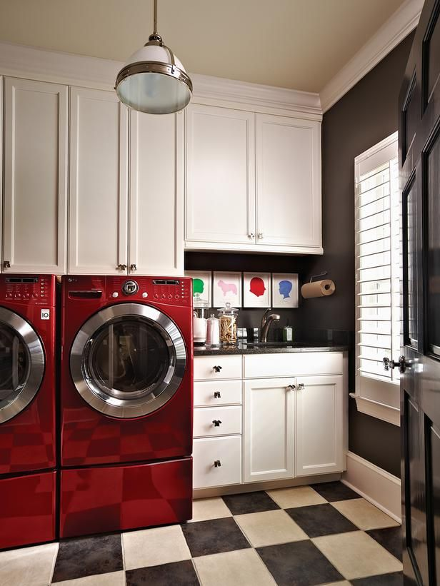 retro red laundry room design