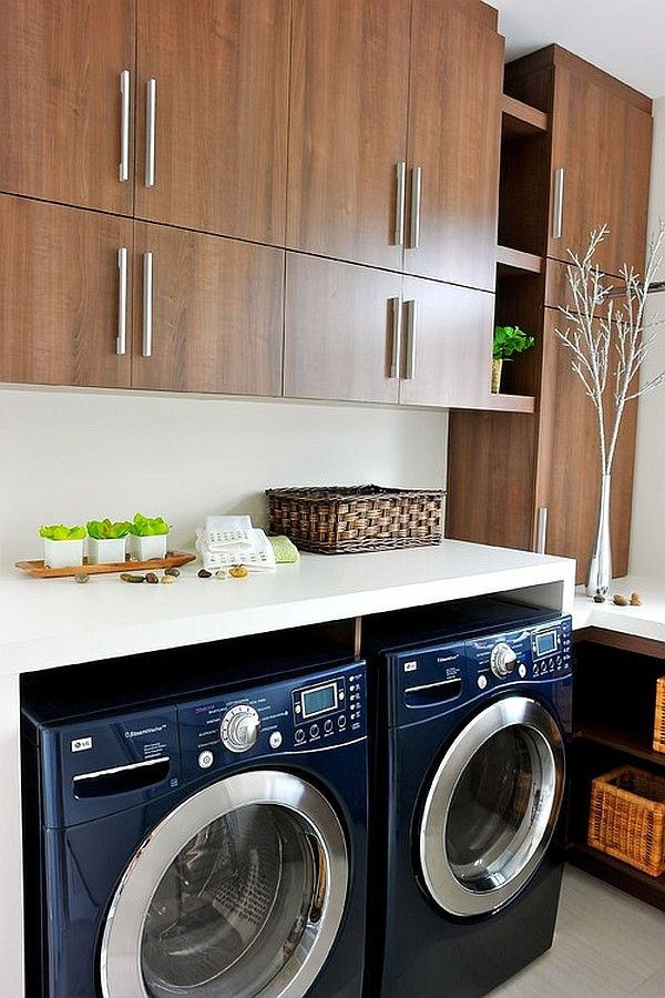 wood and navy laundry design
