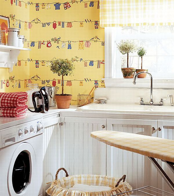 charming yellow wall papered laundry