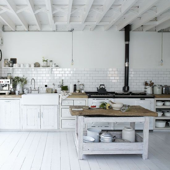 Rustic White Kitchen Tiles