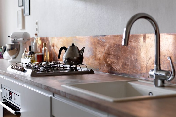copper kitchen splashback