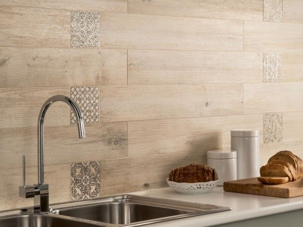 rustic wood and tile backsplash