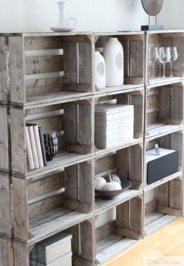 repurposed wooden crate shelves
