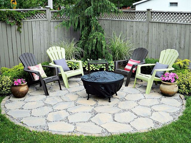 round patio and firepit