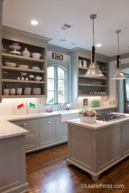 farmhouse kitchen with doorless cabinets