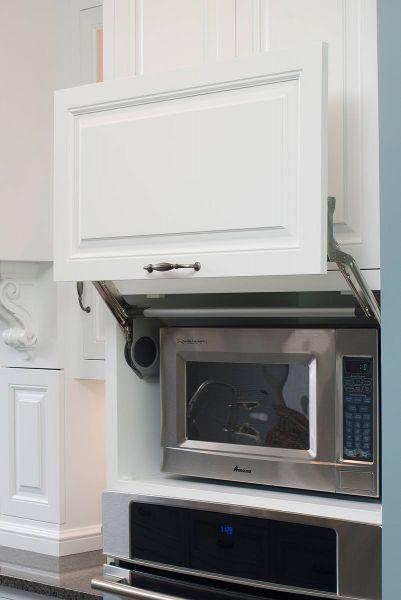 microwave shelf with hinged door