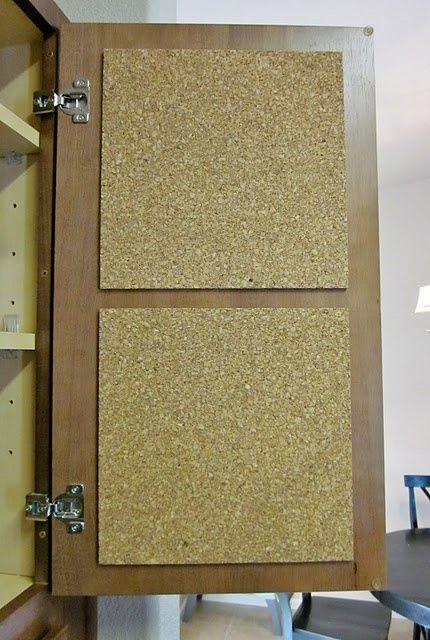 inner cabinet corkboard door