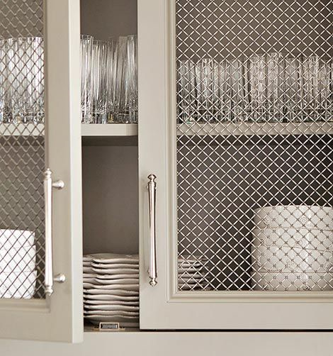 kitchen cabinet with metallic screen doors
