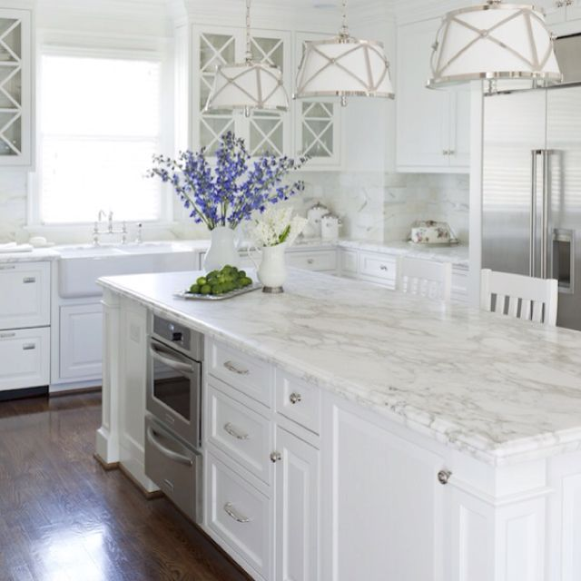 elegant Carrera marble kitchen island
